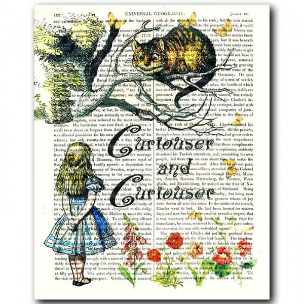 Art on antique book page. Cheshire Cat - Curiouser and Curiouser
