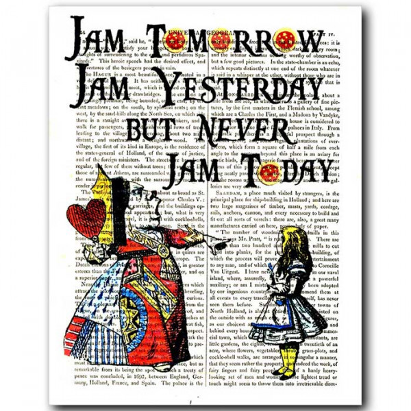 Art on antique book page. Alice in Wonderland: Never Jam Today !
