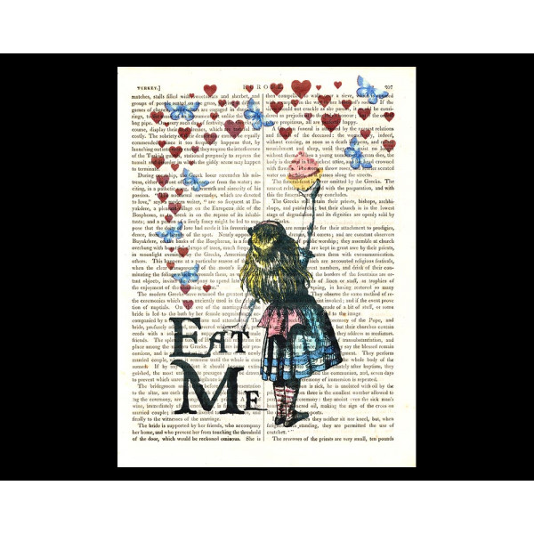 Art on antique book page. Eat Me !