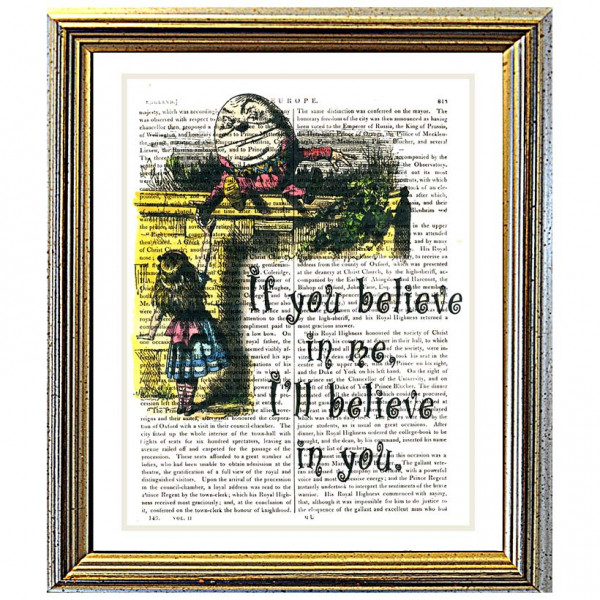 Art on antique book page. If You Believe In Me by Humpty Dumpty