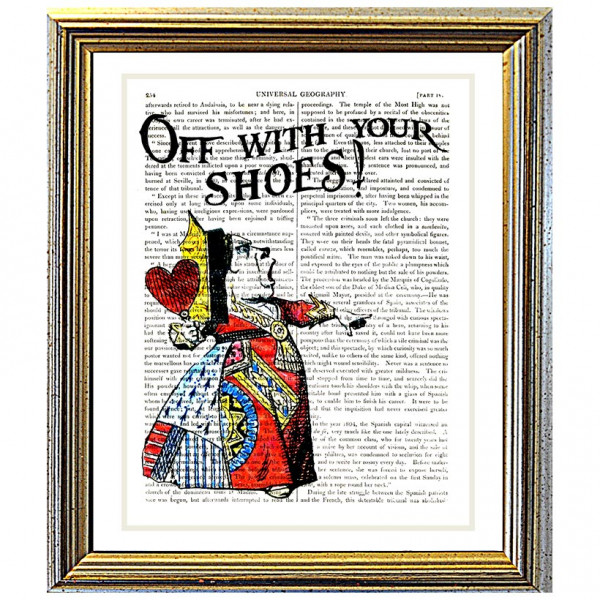 Art on antique book page. Off With Your Shoes !