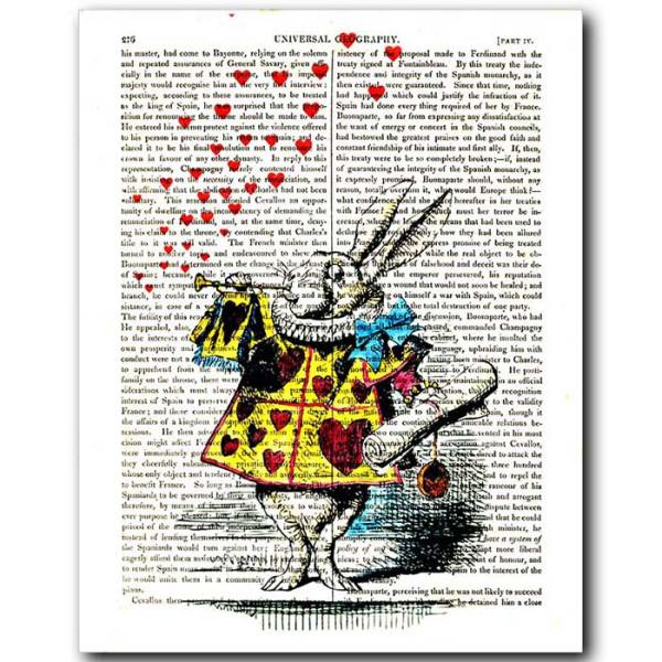 Art on antique book page. The White Rabbit Announces...