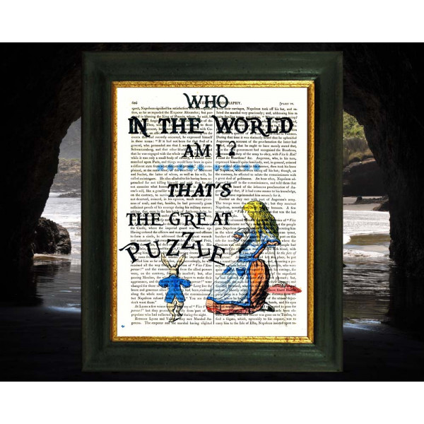 Art on antique book page. Who In The World Am I ? Alice in Wonderland