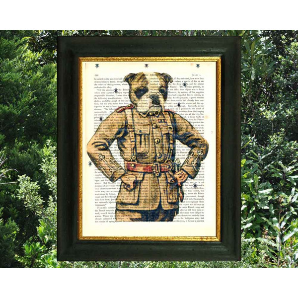 Art on antique book page. Bulldog Soldier