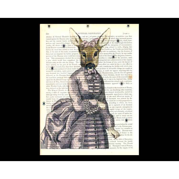 Art on antique book page. Deer Lady