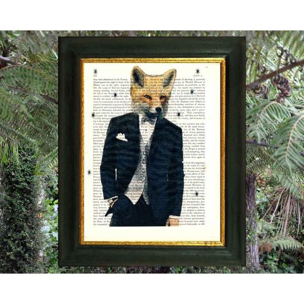 Art on antique book page. Fox Man