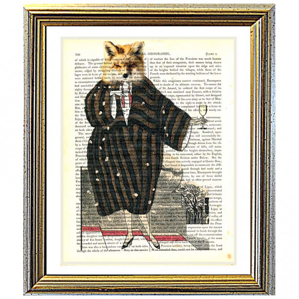 Art on antique book page. Foxy Lady