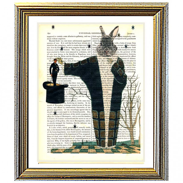 Art on antique book page. Magic Rabbit