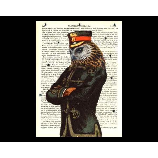 Art on antique book page. Owl Soldier