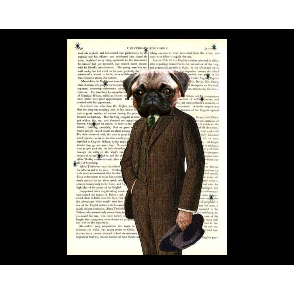Art on antique book page. Pug Man
