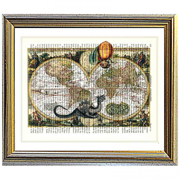 Art on antique book page. Ancient World Map and Sea Monster