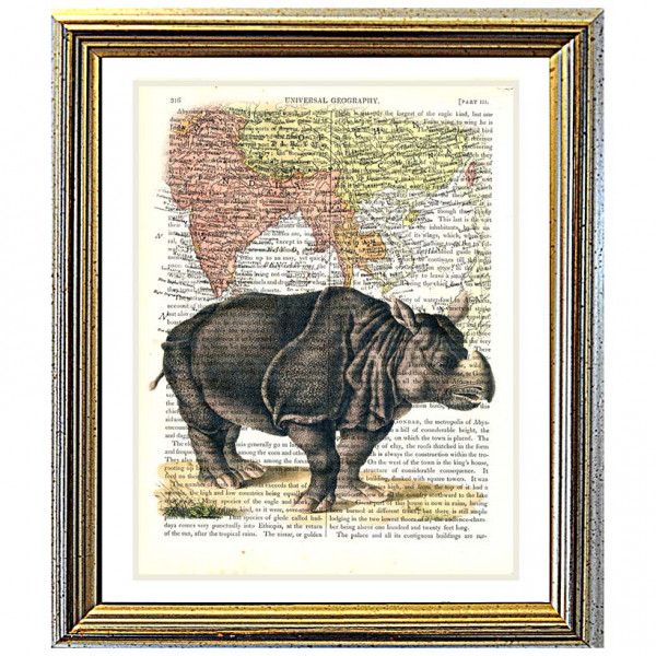 Art on antique book page. Asian Rhino and Map of Asia