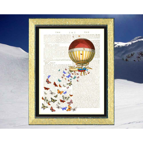 Art on antique book page. Balloon and Butterflies