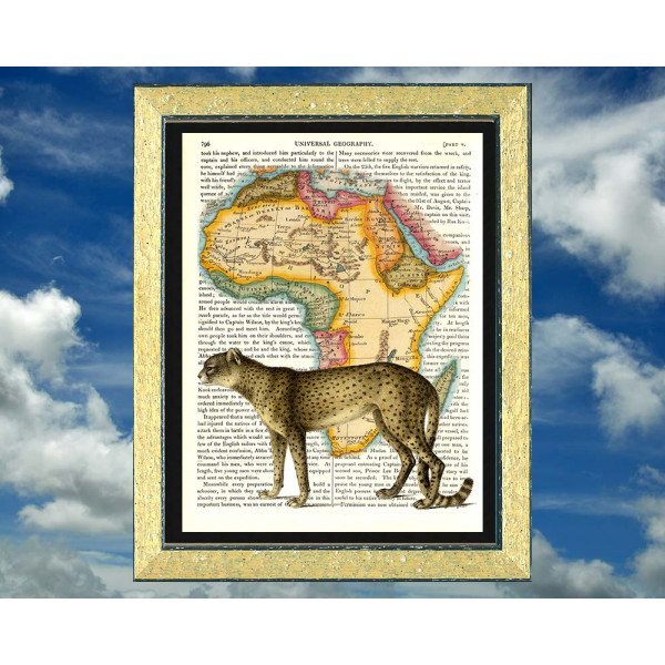 Art on antique book page. Cheetah on a Map of Africa