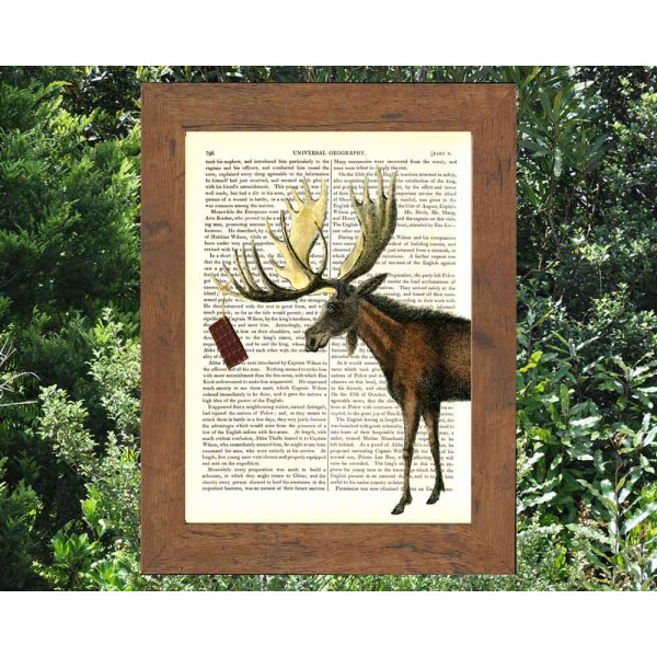 Art on antique book page. Chocolate Moose