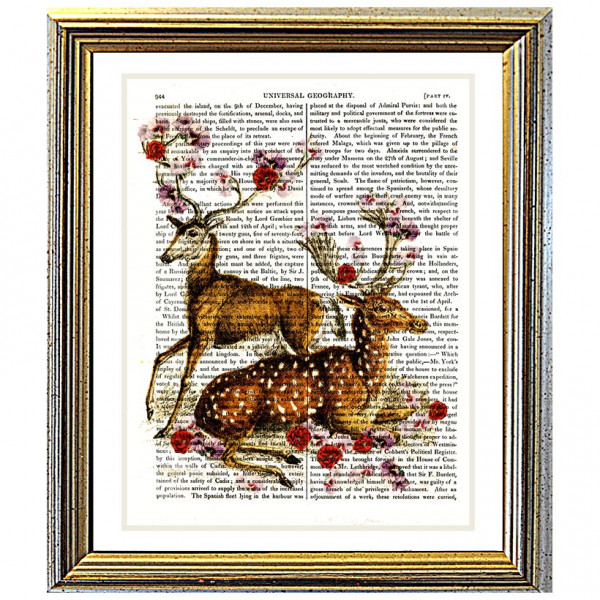 Art on antique book page. Deer Decorated with Spring Blossoms