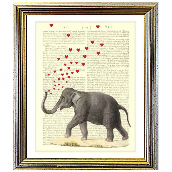 Art on antique book page. Elephant Blowing Love Hearts