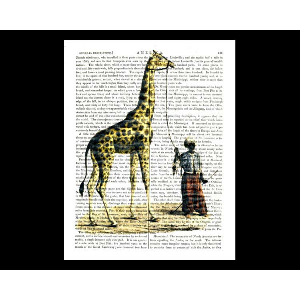 Art on antique book page. Giraffe and Man