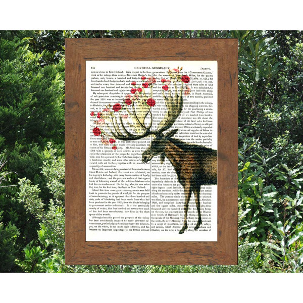 Art on antique book page. Roses on a Moose