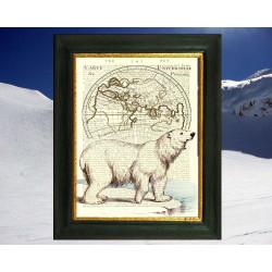 Polar Bear on Arctic Map