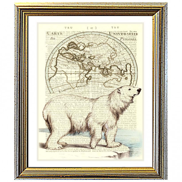Art on antique book page. Polar Bear on Arctic Map