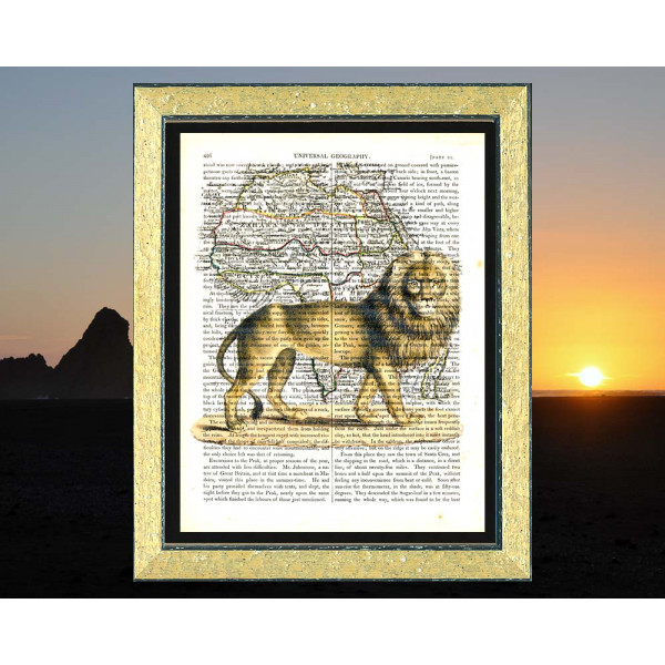 Art on antique book page. Lion of Senegal and Map of Africa