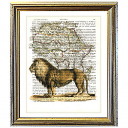 Extinct Barbary Lion on Antique Map of Africa