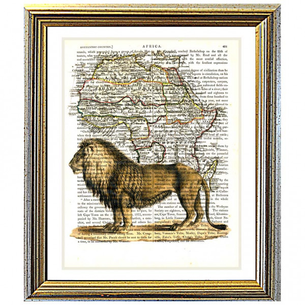 Art on antique book page. Extinct Barbary Lion on Antique Map of Africa