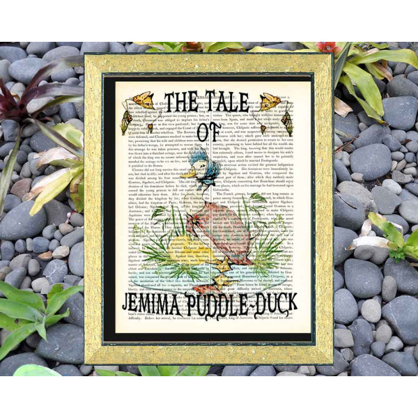 Art on antique book page. Beatrix Potter. The Tale of Jemima Puddle-Duck