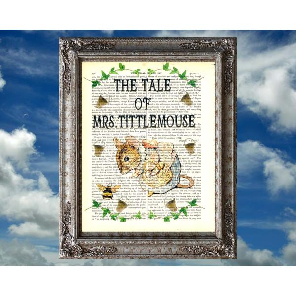 Art on antique book page. Beatrix Potter. The Tale of Mrs Tittlemouse