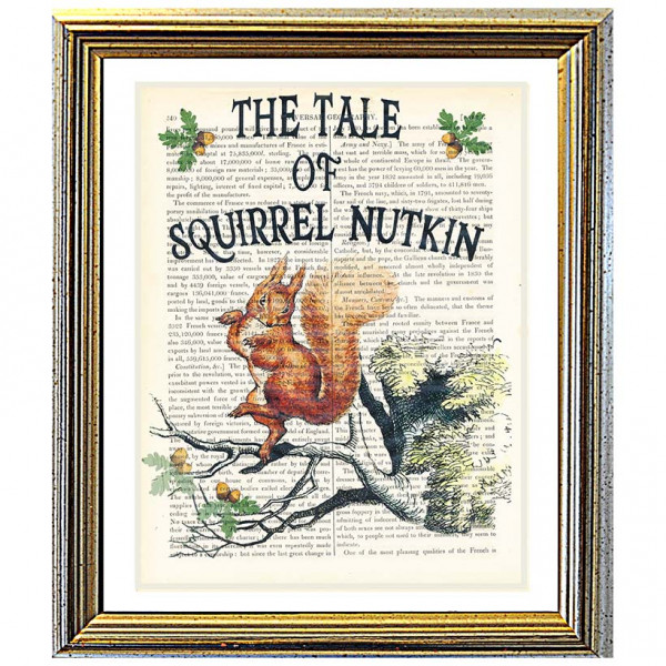 Art on antique book page. Beatrix Potter. The Tale of Squirrel Nutkin