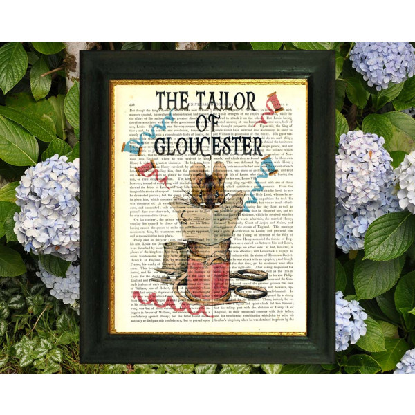 Art on antique book page. Beatrix Potter. The Tailor of Gloucester