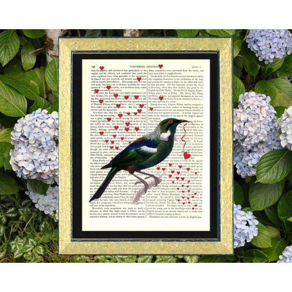 Art on antique book page. New Zealand Tui bird and Love Hearts