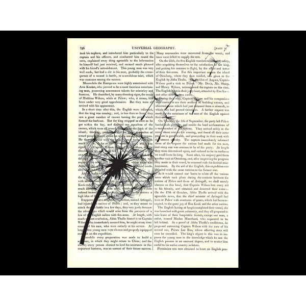 Art on antique book page. Blowing Dandelion Seeds