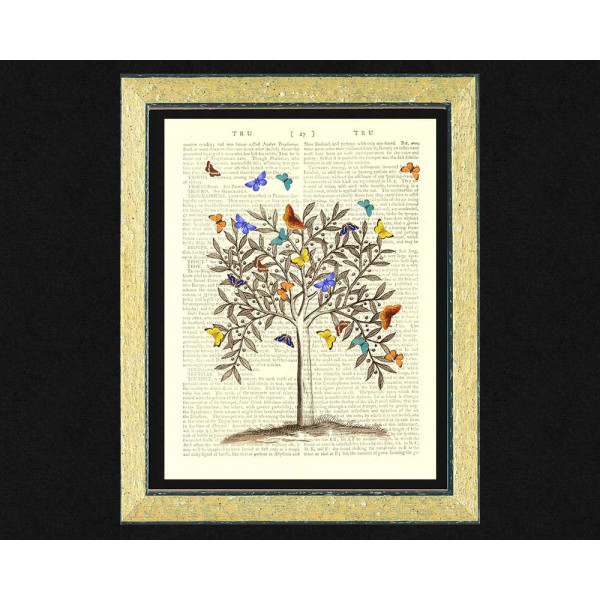 Art on antique book page. Butterfly Tree