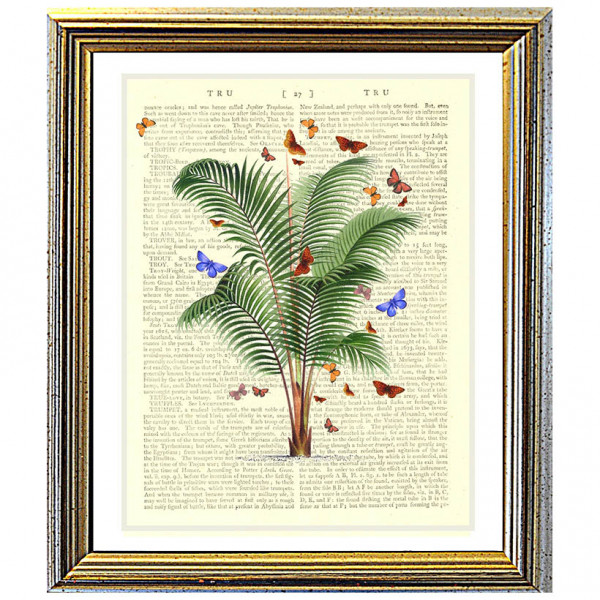 Art on antique book page. Nikau Palm Tree and Butterflies