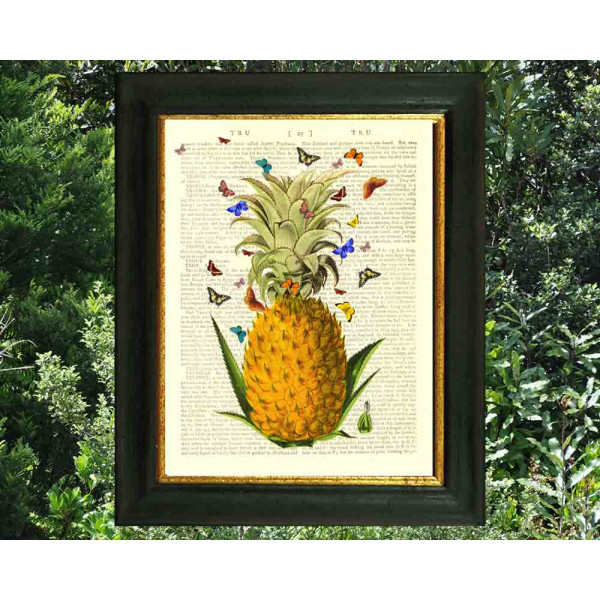 Art on antique book page. Pineapple and Butterflies