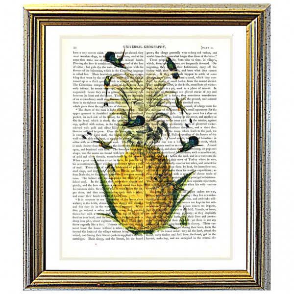 Art on antique book page. Pineapple and Hummingbirds