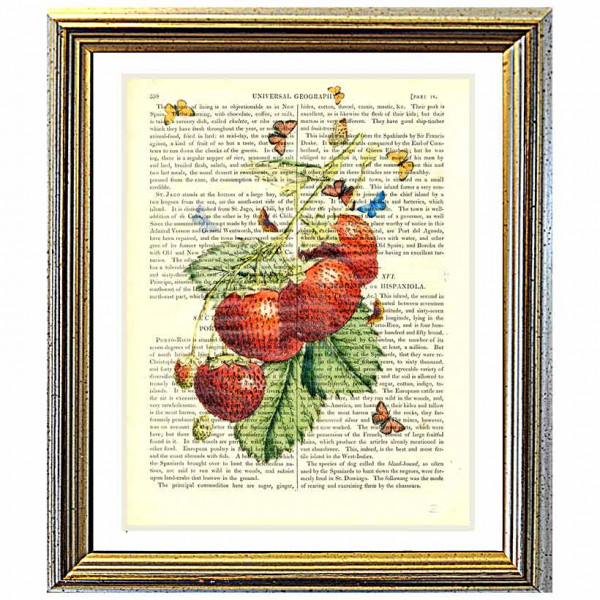 Art on antique book page. Strawberries and Butterflies