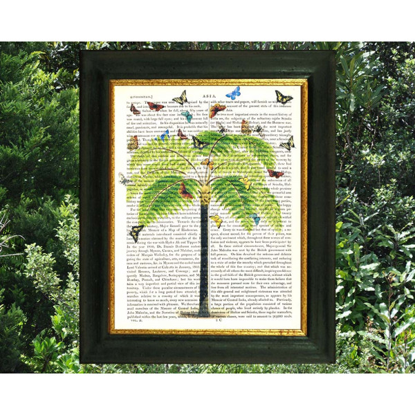 Art on antique book page. Tree Fern and Butterflies