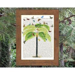 Tree Fern and Butterflies