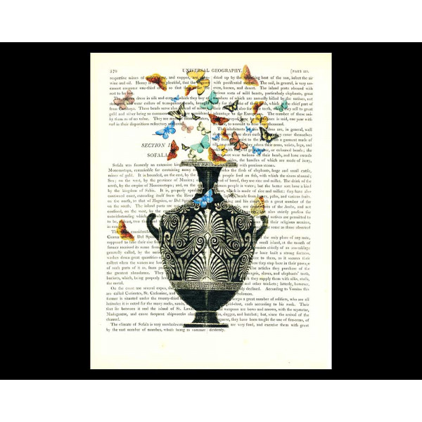 Art on antique book page. Classical Etruscan Vase and a Cloud of Butterflies
