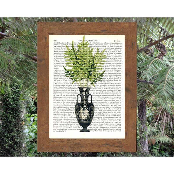 Art on antique book page. Classical Etruscan Vase filled with Ferns