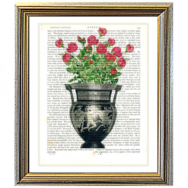 Art on antique book page. Classical Etruscan Vase filled with Red Roses