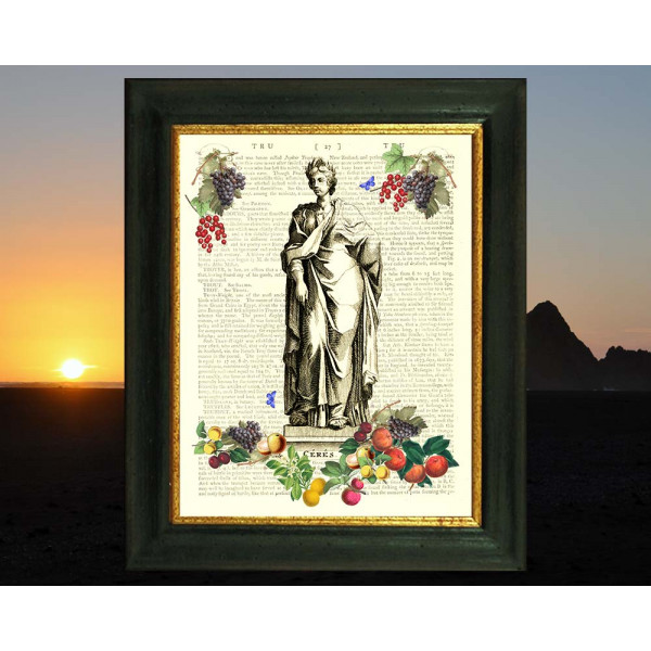 Art on antique book page. Goddess Ceres with Delicious Fruit