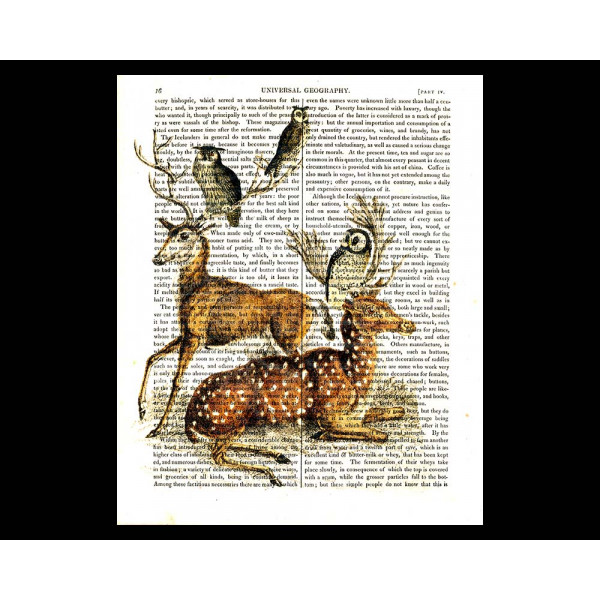 Art on antique book page. Deer and Owls - Forest Friends