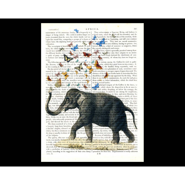 Art on antique book page. Elephant Blowing Butterflies