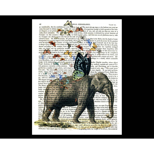 Art on antique book page. Elephant With Butterfly Wings