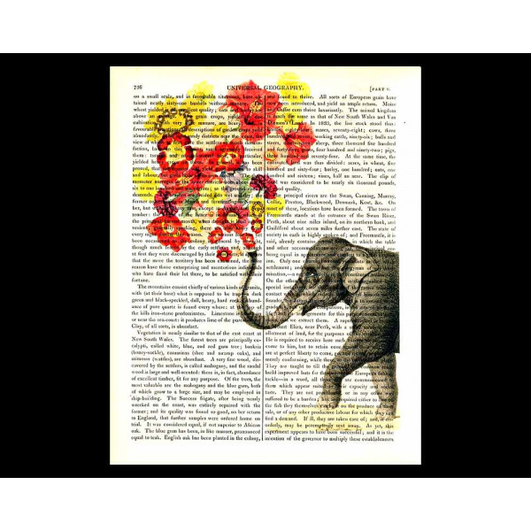 Art on antique book page. Elephant Flower Power