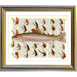 Rainbow Trout with Fishing Flies